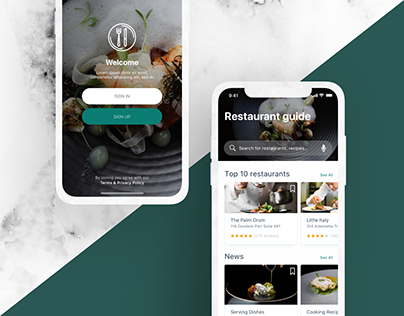Restaurant guide application concept