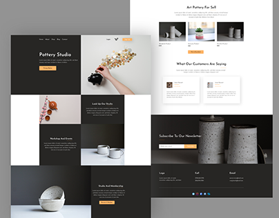 Pottery studio landing pages