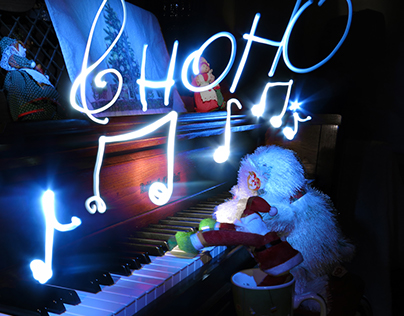 Santa Bear Music Light Painting