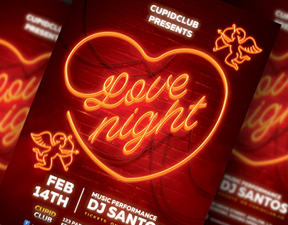 Neon Valentines - Flyer Template