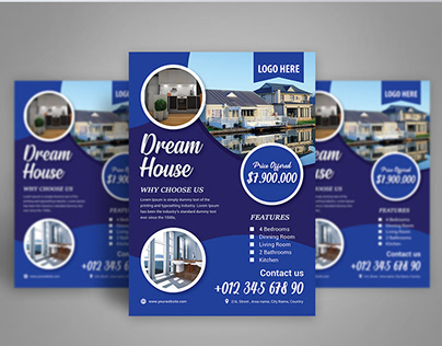 Blue Real Estate Flyer Design Template