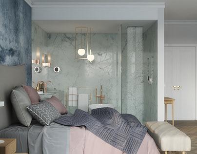 Master bedroom with open bathroom Brussels