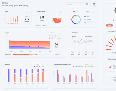 Neumorphic Dashboard for Fitness Tracking Platforms