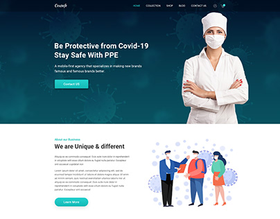 PPE equipment Selling Landing page UI Design