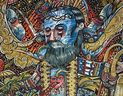Padre Pio, 57/59cm, aquarelle, 2017