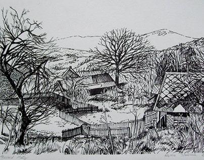 """Beskid Mały"", drawing, 2016."