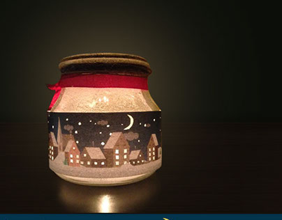 Winter illustration for diy jar decoration