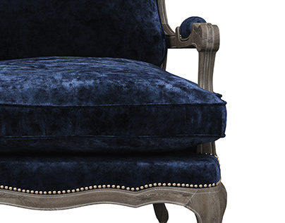 French country armchair bergere 3d model