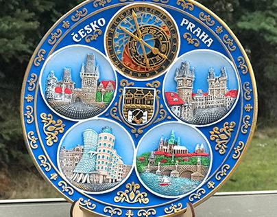 Hand painted 3D ceramic souvenir plate 20 cm Praha