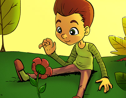 Illustration - Boy and the flower