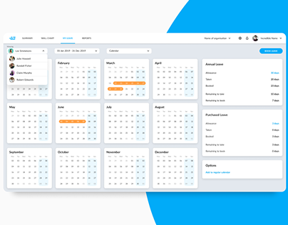staff leave planner | user interface dashboard