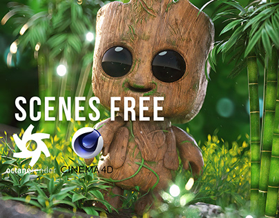 OCTANE RENDER FREE SCENE BABY GROOT By Oscar creativo