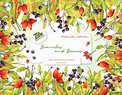 """Watercolor collection """"Branches and Berries"""""""