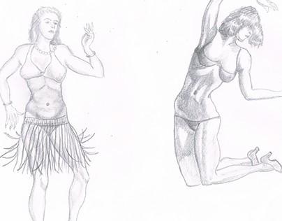 Hula dancer & girl