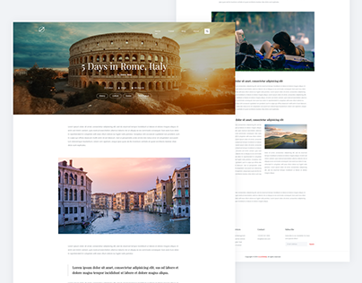 Rome, Italy - Simple Travel Blog Post Page UI Design