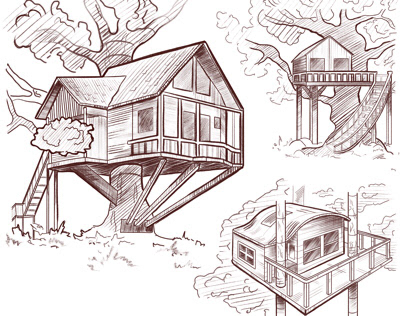 Sketches of houses and interior