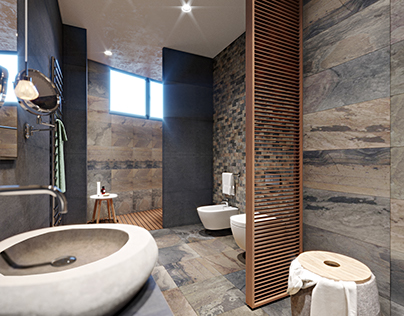 """Stone and wood. Bath. Design with """"Martin architects"""""""
