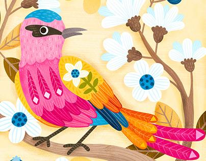 Birds Butterflies & Blossoms Illustration 2019