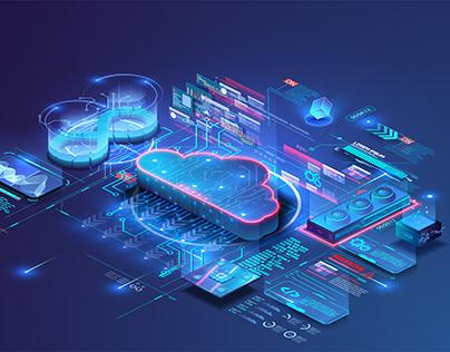 Future Cloud technology, data transfer, digital storage