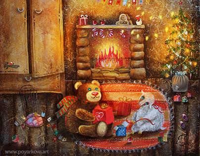 """Картина маслом """"Новогоднее настроение""""."""
