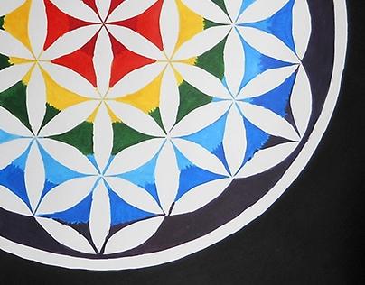 Sacred Geometry Rainbow Flower of Life