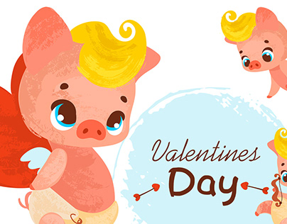 Cartoon cupid pig
