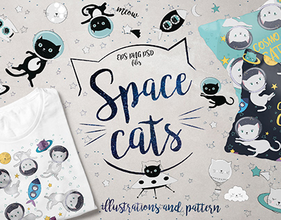 Space cats illustrations & pattern