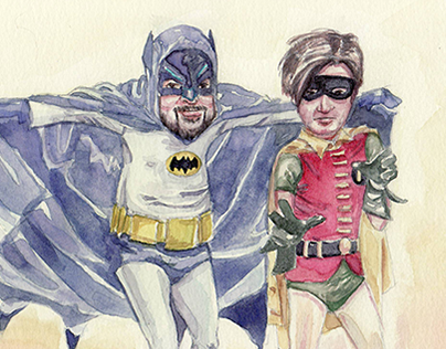POW! - Caricature of Friends as Batman & Robin