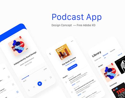 Podcast App - Free UI Kit Adobe XD