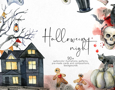 Halloween night. Watercolor clipart