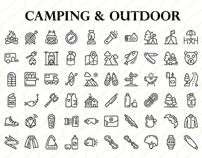 Camping & Outdoor Line Icon Set