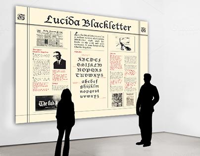 Black letter typography exhibition design