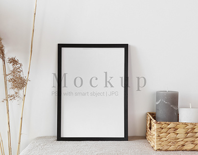 Black Photo Frame Mockup With Straw Basket