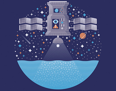 Microplastics From Space / Science Illustration