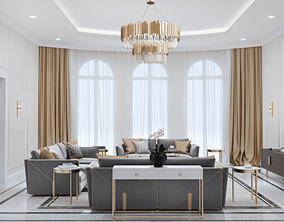 Family living room in modern classic style