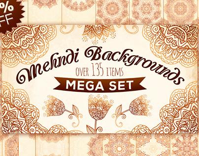 Mehndi backgrounds MegaBundle! 80% OFF!