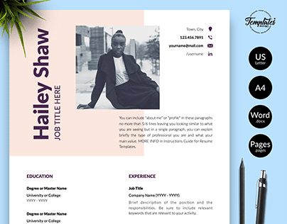 "Resume Template ""Hailey Shaw"""
