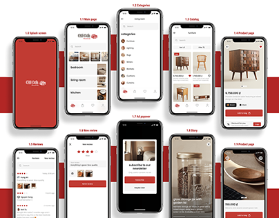 50 Screen UI/UX DesignOld Oak Furniture App Mobile