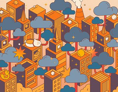 2.5D城市插画/Urban illustration