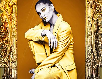 Design gold frames, photo processing, Image processing