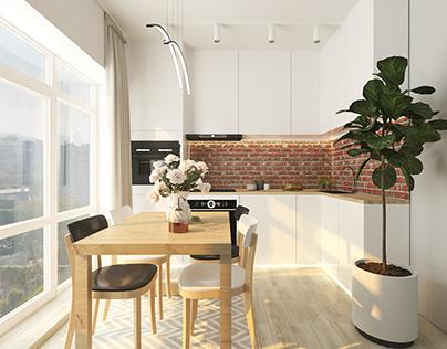 Individual flat style in eco-loft interior