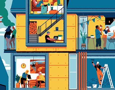 Perl. social housing illustration