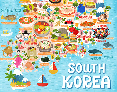 South Korea Food Map Illustration
