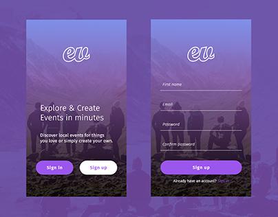 App sign up exploration concept.