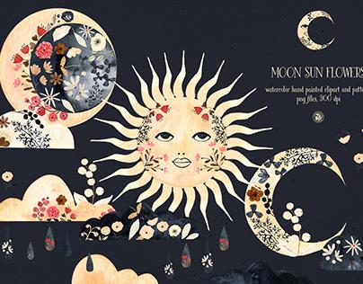 Moon Sun Flowers - watercolor set