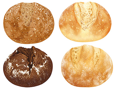 "Illustration for package of frozen bread ""PAN &"""
