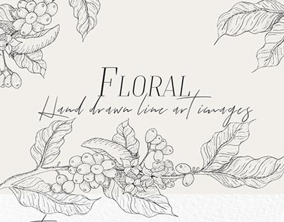 Floral hand drawn line art illustrations