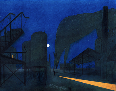 Ночь на фабрике / Night at the factory