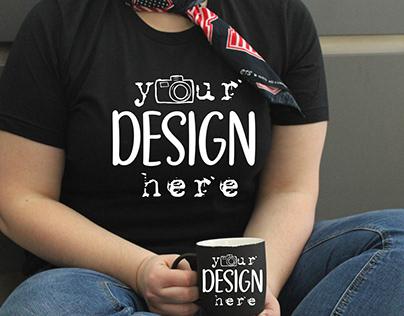 Real Tshirt, Black Mug, Model Mockup, Curvy Woman,