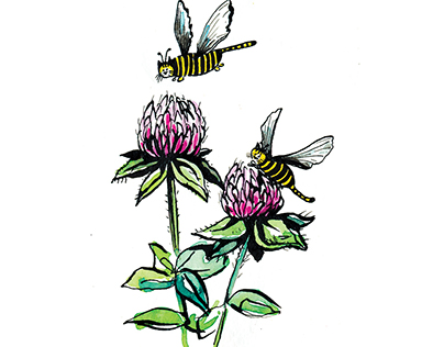 Bumblebee Cats ink and watercolor illustration & print